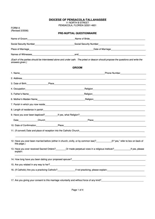 Form A Pre-Nuptial Questionnaire Printable pdf