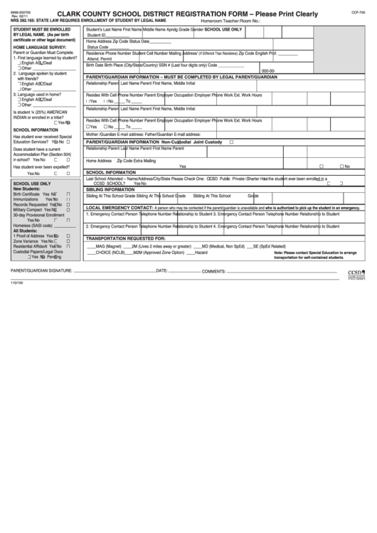Fillable Form Ccf 705 Clark County School District Registration