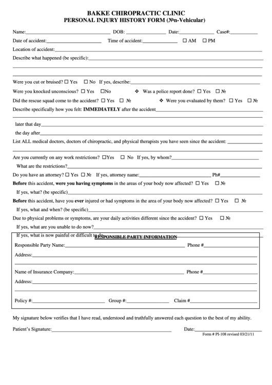 personal injury history form non vehicular printable pdf