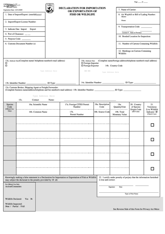 Fillable Usfws Form 3 177 Declaration For Importation Or