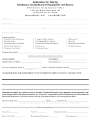 Application For Hearing Form - Henderson County Board Of Equalization And Review