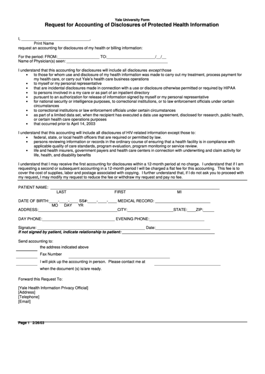 Request For Accounting Of Disclosures Of Protected Health Information Form Printable pdf