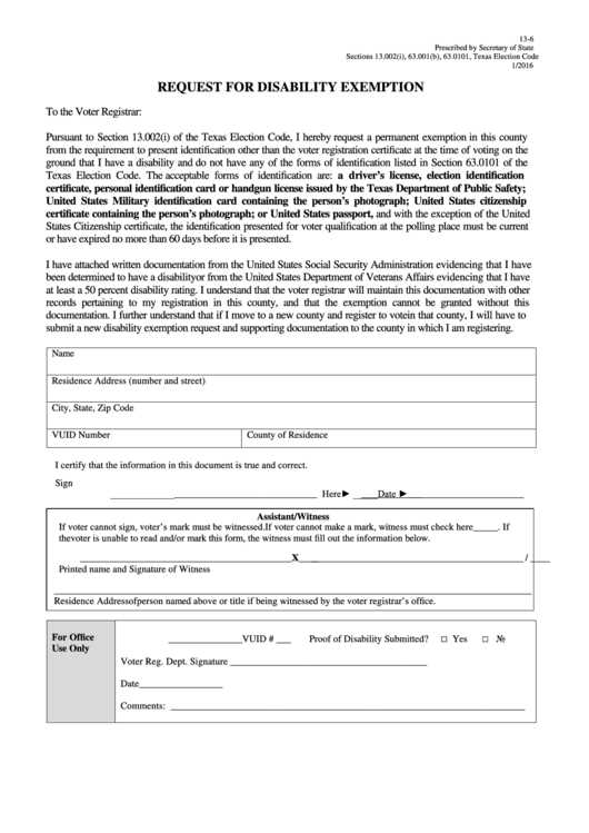 Request For Disability Exemption Form