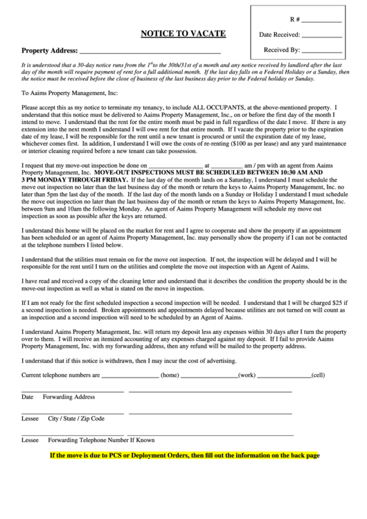 Notice To Vacate Form