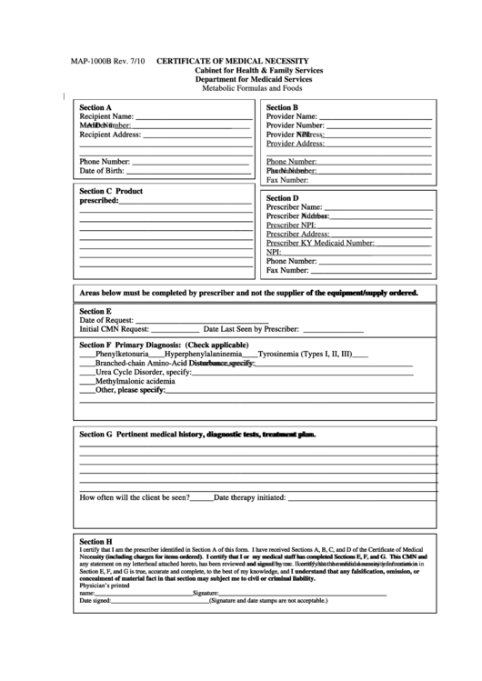 Form Map 1000b - Certificate Of Medical Necessity - Department For Medicaid Services