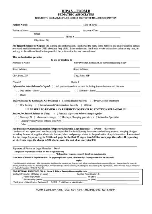 Hipaa Form B - Pediatric Associates Request To Release, Copy, Or Inspect Protected Health Information
