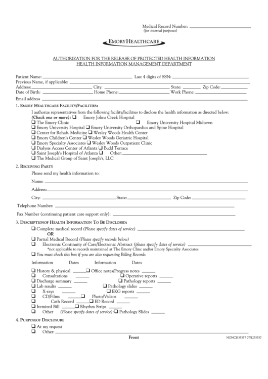 Form Nonch35557 - Authorization For The Release Of Protected Health Information - Emory Healthcare