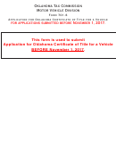 Form 701-6 - Application For Oklahoma Certificate Of Title For A Vehicle
