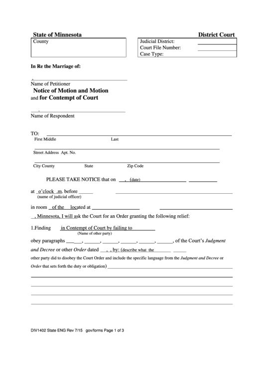 Notice Of Motion And Motion For Contempt Of Court Template