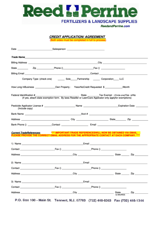 free credit application form pdf