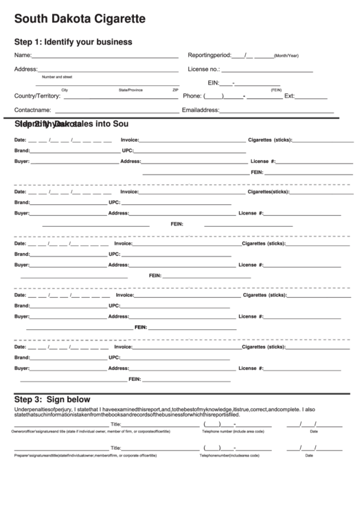 South Dakota Cigarette P.a.c.t. Act Report Template - Dor Tobacco Printable pdf