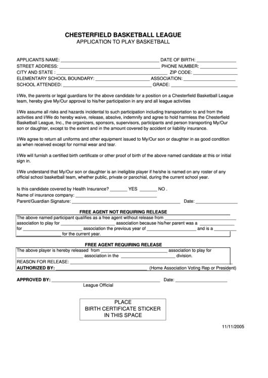top 16 basketball registration form templates free to. Black Bedroom Furniture Sets. Home Design Ideas