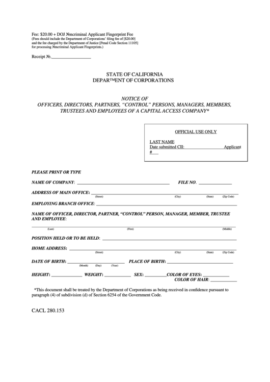 """Form Cacl 280.153 Notice Of Officers, Directors, Partners, """"Control"""" Persons, Managers, Members, Trustees And Employees Of A Capital Access Company - California Department Of Corporations Printable pdf"""
