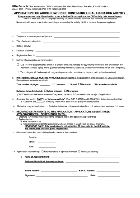 Application For Accreditation Of Continuing Legal Education Activity Kba Form 1
