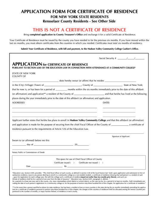 Application Form For Certificate Of Residence For New York