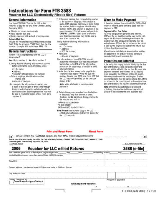 fillable california form 3588 e file voucher for llc e