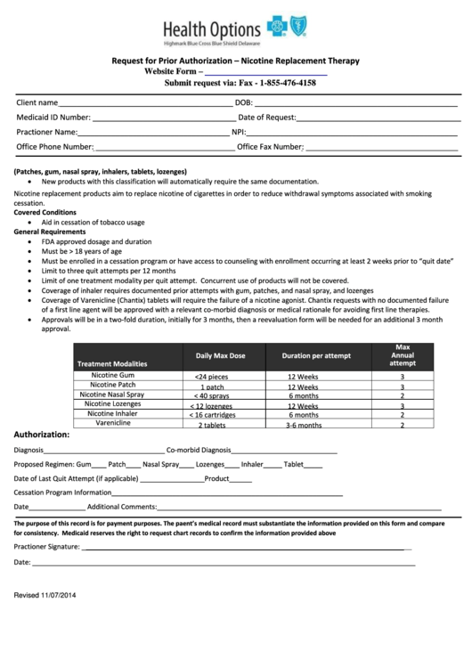 Request For Prior Authorization Form - Highmark Blue Cross ...