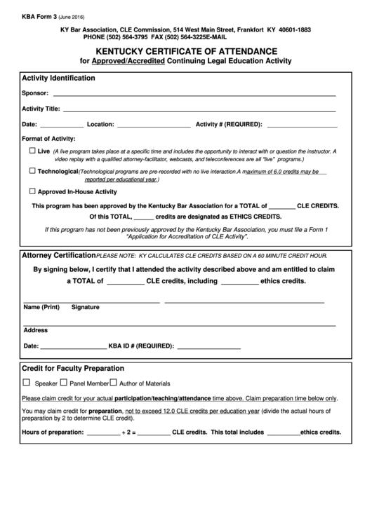 Kba Form 3 Kentucky Certificate Of Attendance