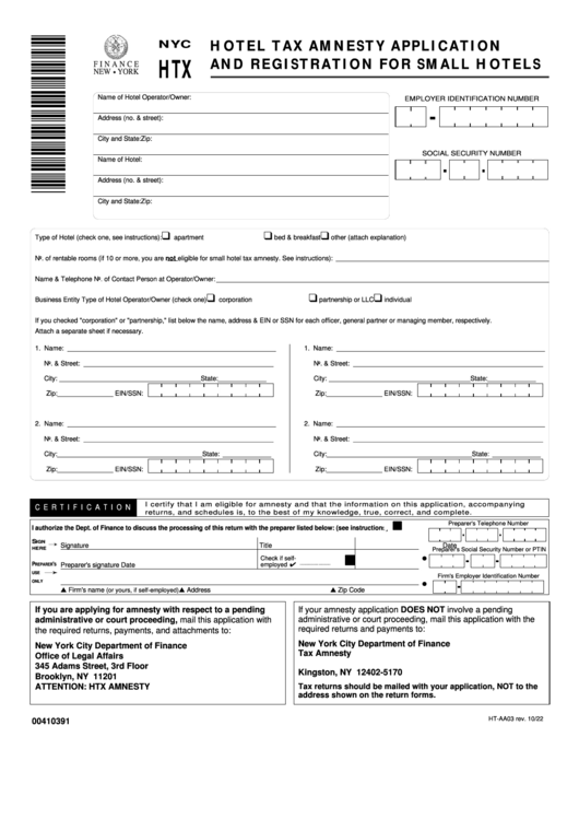 Form Ht-aa03 Hotel Tax Amnesty Application And Registration For Small Hotels