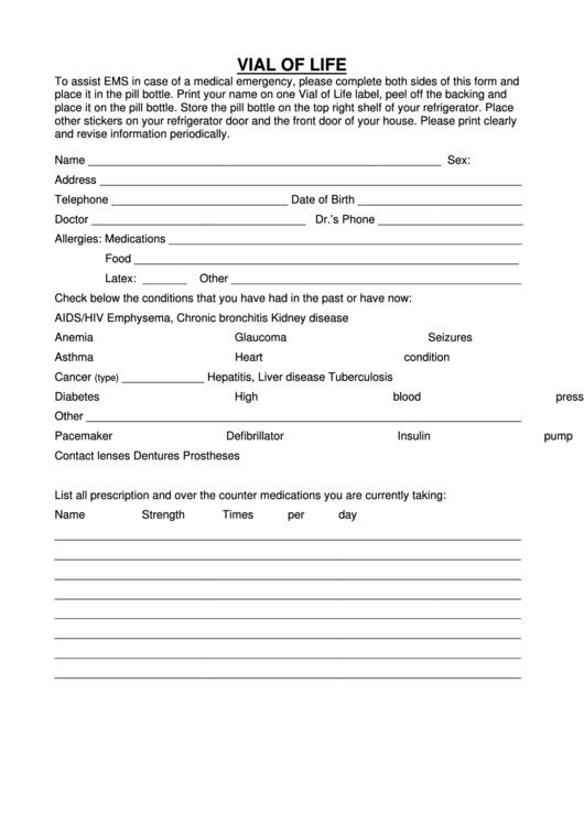 Vial Of Life Form printable pdf download