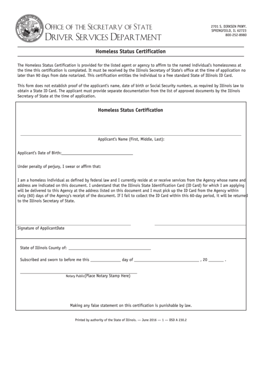 Homeless Status Certification Form