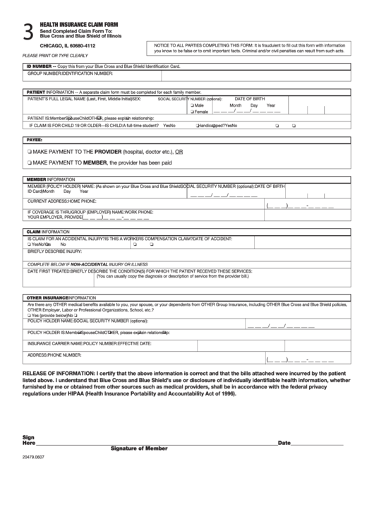 Fillable Health Insurance Claim Form - Blue Cross And Blue