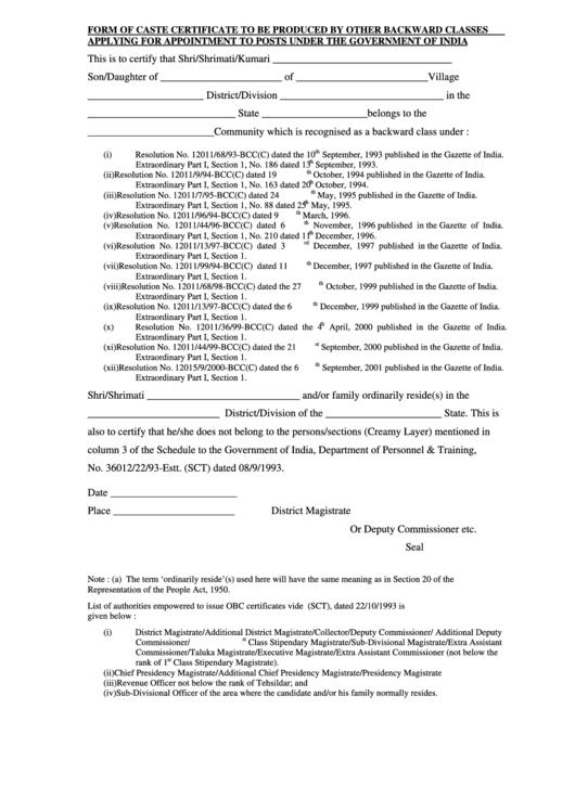 wb caste certificate form pdf