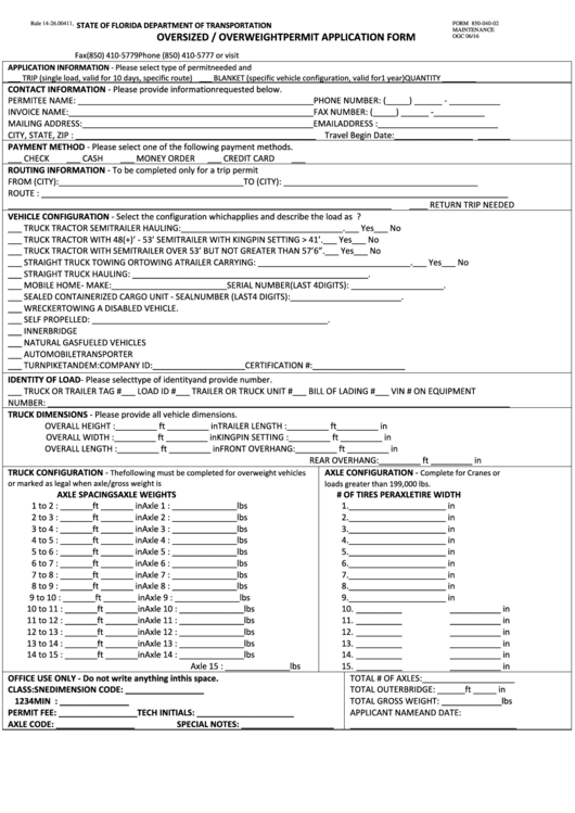 Form 850-040-02 - Oversized / Overweight Permit Application Form - Fdot