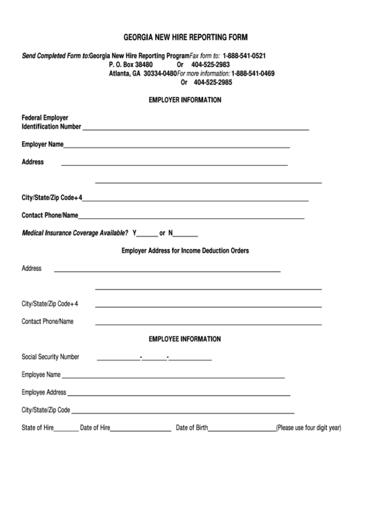 Georgia New Hire Reporting Form printable pdf download