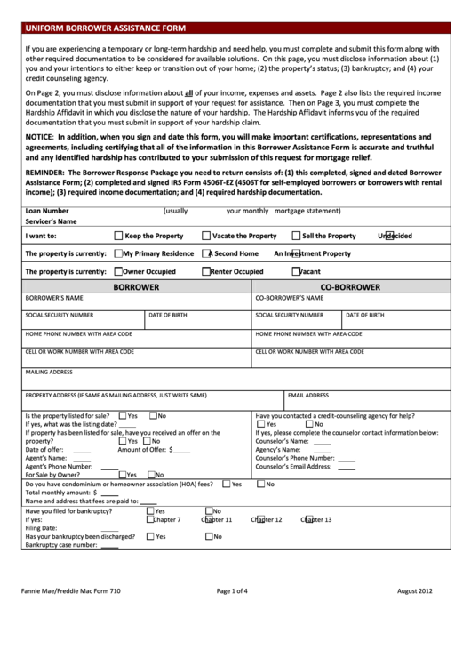 Form 710 - Uniform Borrower Assitance Form