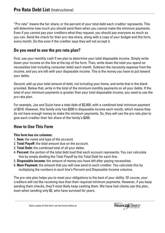 pro rata debt list template printable pdf download