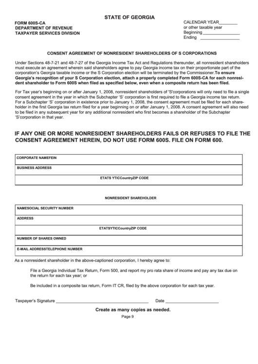 Form 600s-ca - Consent Agreement Of Nonresident Sharehokders Of S ...