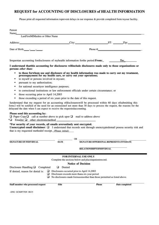 Request Form For Accounting Of Disclosures Of Health Information Printable pdf