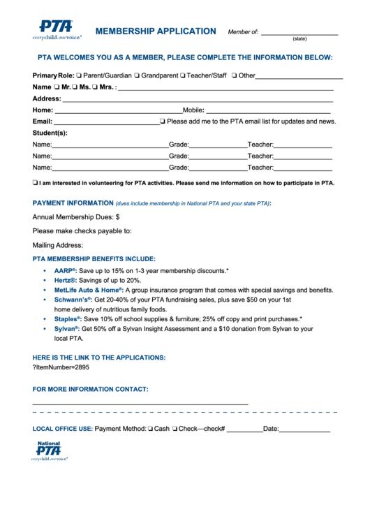 membership form template doc - fillable pta membership application form printable pdf