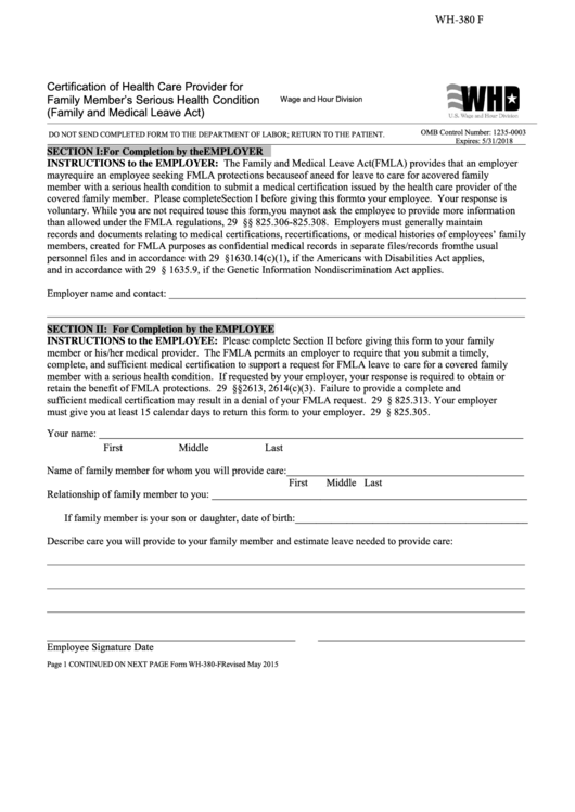 Form Wh-380-f - Certification Of Health Care Provider For Family Member's Serious Health Condition - 2015
