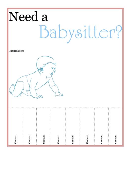 Babysitter Flyer Template Printable pdf