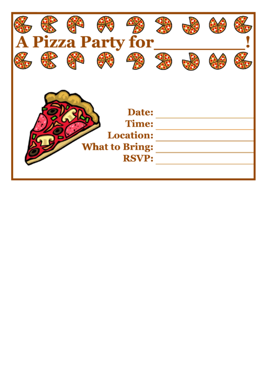 Pizza Party Flyer Template Printable pdf