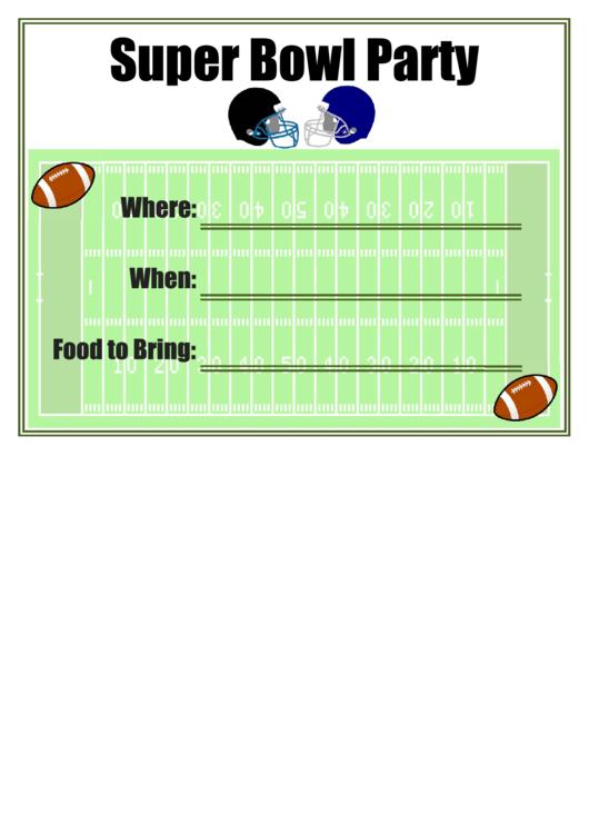 Super Bowl Party Flyer Template Printable pdf