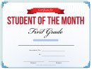 First Grade Student Of The Month Certificate Template