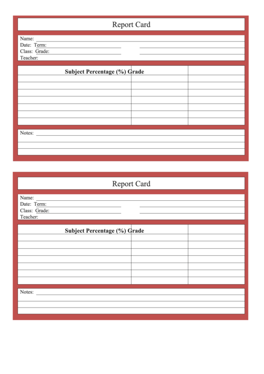 School Report Card Template