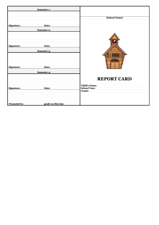 School Report Card Template - Blank