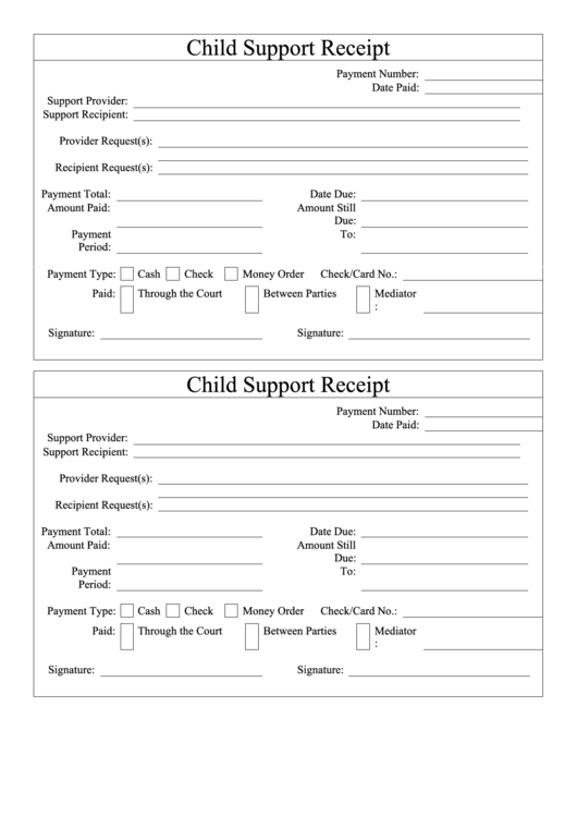 Child Support Receipt Template Printable Pdf Download