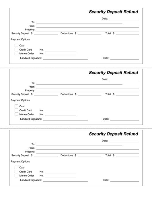 security deposit refund form printable pdf download