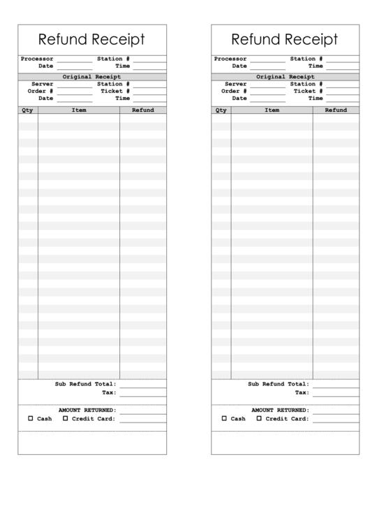 Refund Receipt Template Printable Pdf Download
