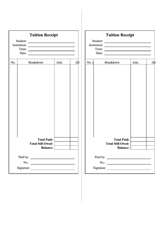 Tuition Receipt Template