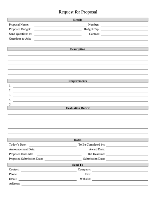 Request For Proposal Template Printable pdf