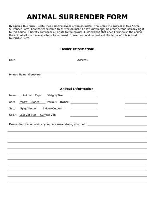 Animal Surrender Form Printable Pdf Download