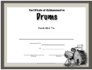 Music Award Certificate Template - Drums