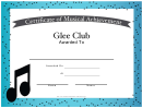 Music Award Certificate Template - Glee Club