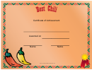 Best Chili Cook Off Award Certificate Template